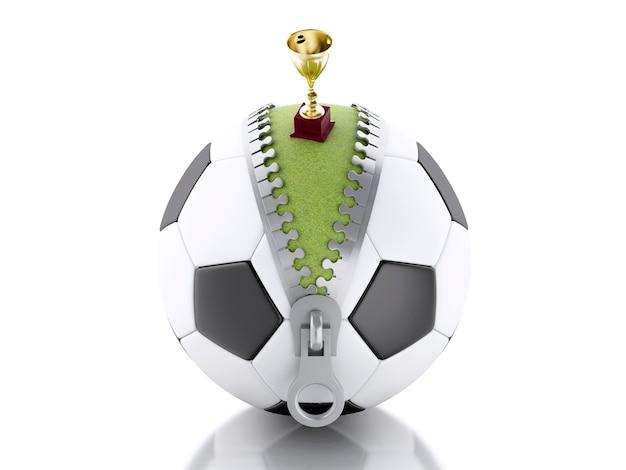 Trofeo 3d in cima a pallone da calcio