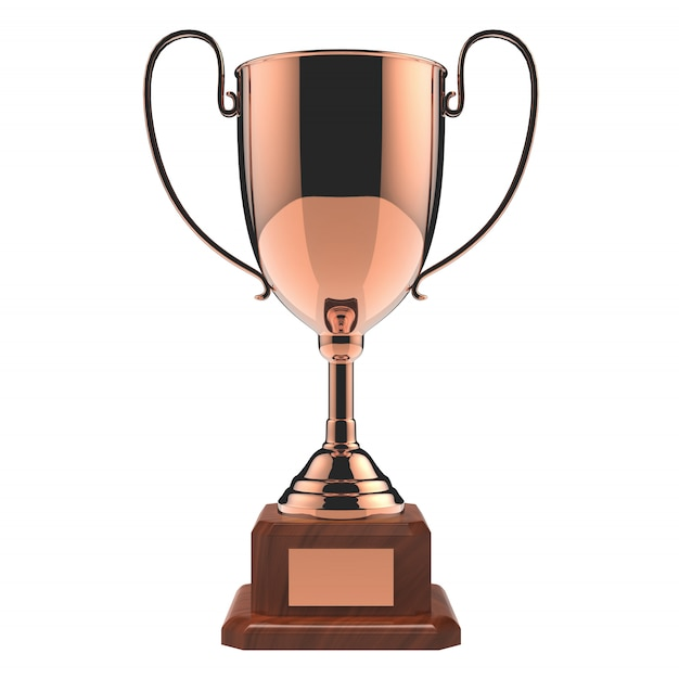 Trofeo di rame del premio isolato su bianco con il percorso di ritaglio