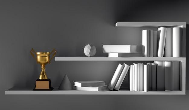 Trofeo dorato del campione disposto sullo scaffale di libro interno vuoto bianco con la luce di mattina.