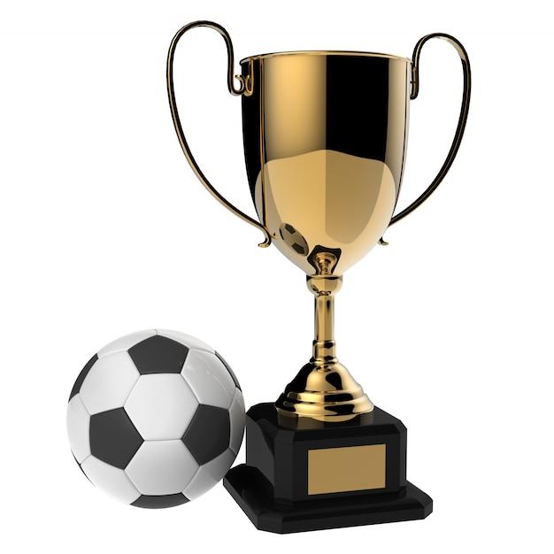 Trofeo dorato del premio di calcio isolato su bianco con il percorso di ritaglio