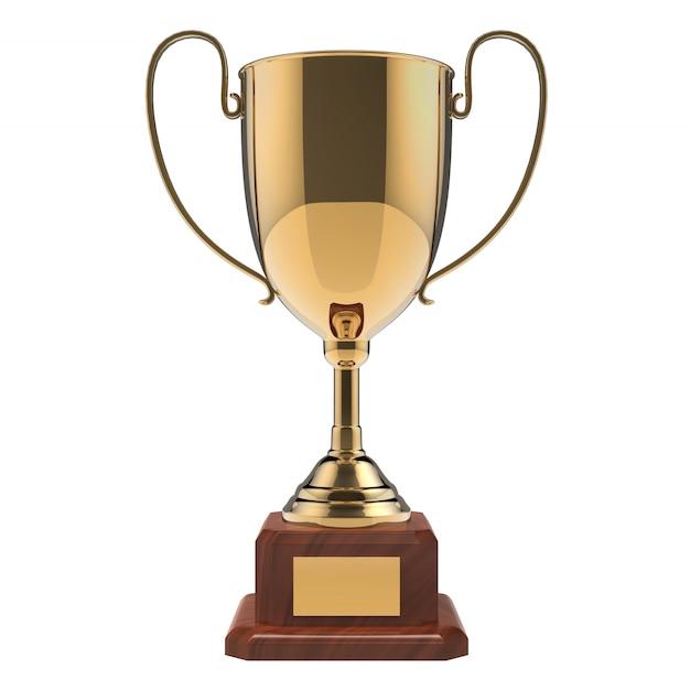 Trofeo dorato del premio isolato su bianco con il percorso di ritaglio