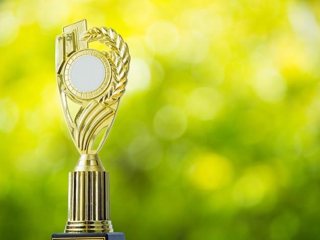 Trofeo vincente del premio dorato con fondo astratto del bokeh della luce naturale dalle foglie.