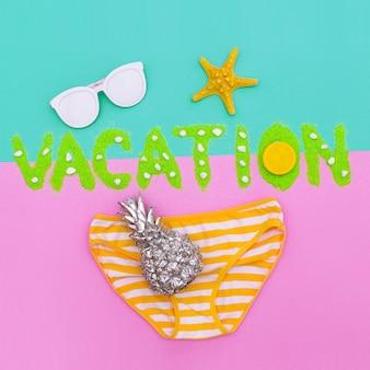 Tropical beach vacation minimal set fashion art