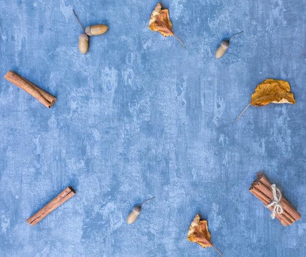 Troppo vista cornice con ghiande e bastoncini di cannella