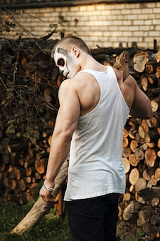 Trucco cranio zucchero maschile. face painting art.