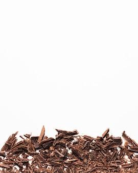 Trucioli di cioccolato con spazio di copia