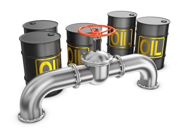 Tubo in acciaio con una valvola e un barile di petrolio su sfondo bianco. rendering 3d.