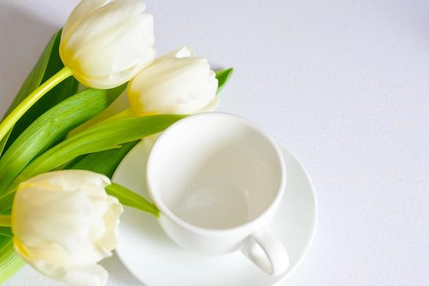 Tulipani teneri bianchi della molla e una tazza di tè su fondo bianco