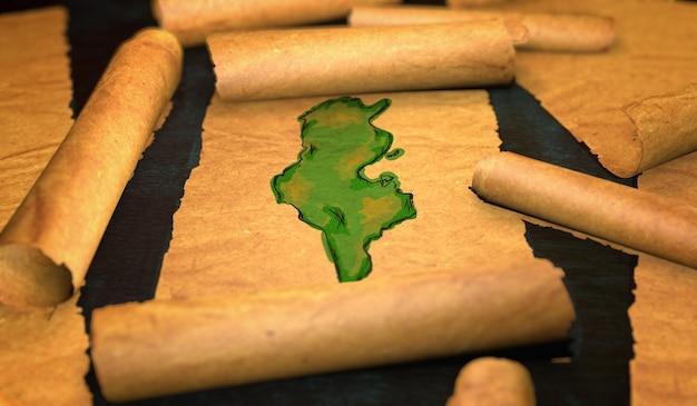 Tunisia mappa pittura unfolding old paper scorrimento 3d