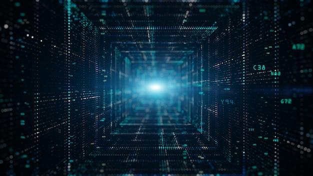 Tunnel digitale del cyberspazio con particelle e dati digitali