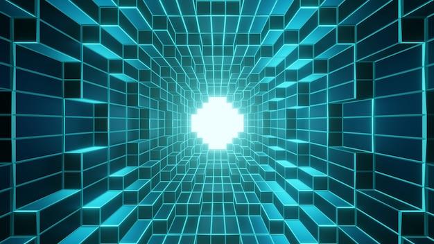 Tunnel geometrico con wireframe incandescente e luce alla fine dello sfondo del tunnel