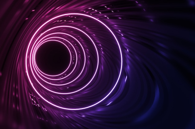Tunnel rotondo con le pareti riflettenti e l'illustrazione al neon di illuminazione 3d del cerchio