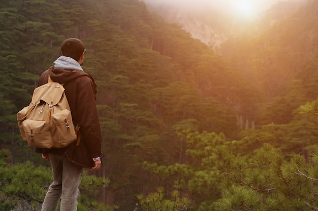 Turista bello del tipo dell'uomo che sta da solo dal paesaggio della foresta della montagna durante la sua vacanza di caduta con la sua vista della parte posteriore dello zaino