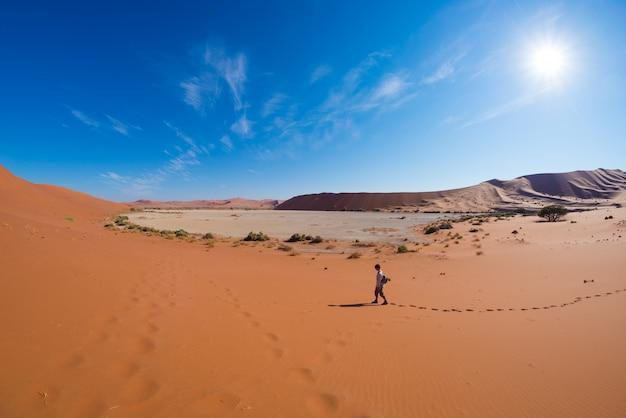 Turista che cammina sulle dune sceniche di sossusvlei