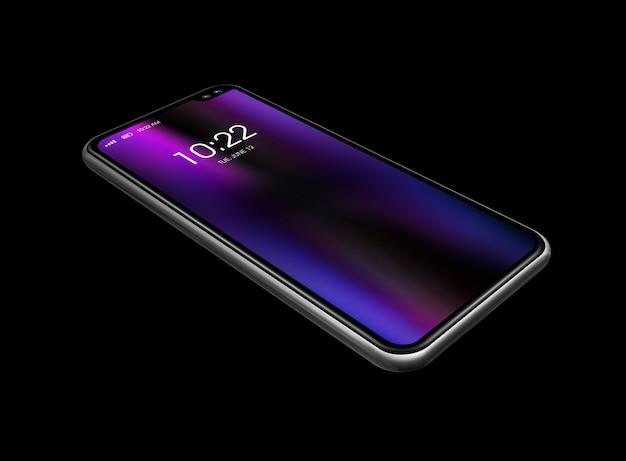 Tutto il modello dello smartphone dello schermo isolato sul nero. rendering 3d