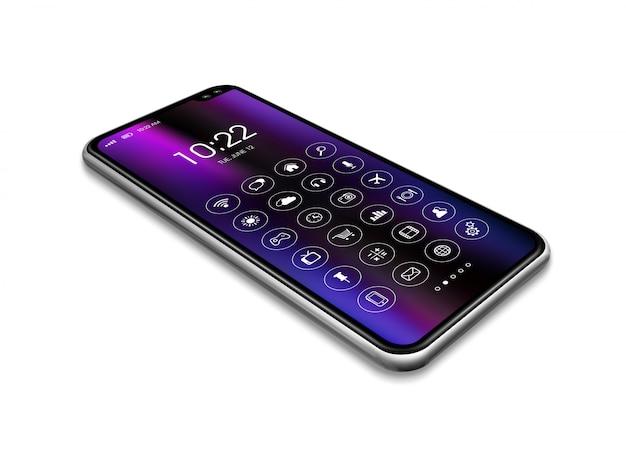 Tutto lo smartphone dello schermo con l'insieme dell'icona isolato su bianco. rendering 3d