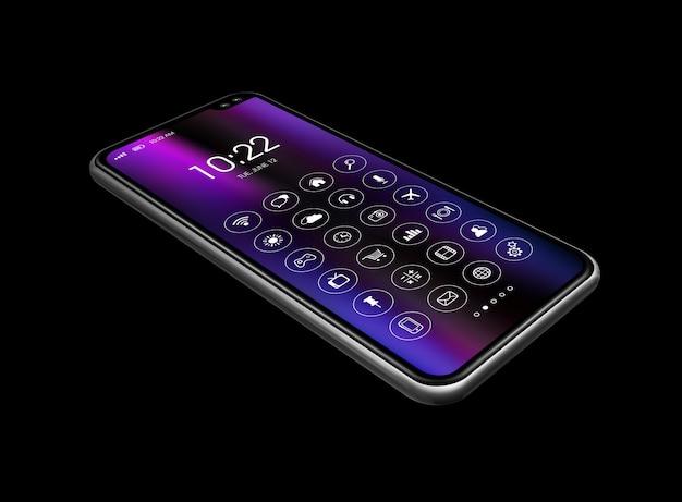 Tutto lo smartphone dello schermo con l'insieme dell'icona isolato sul nero. rendering 3d