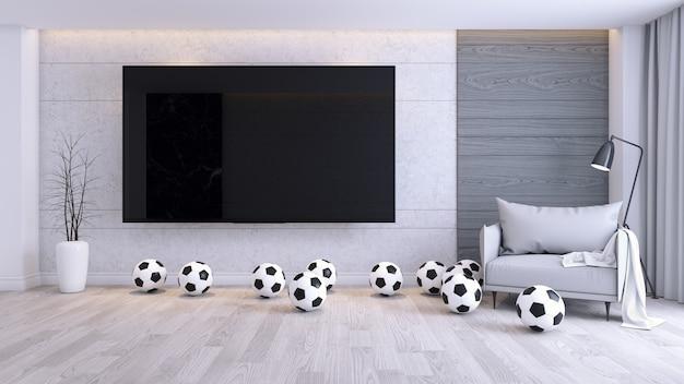 Tv con calcio e poltrona in moderno del soggiorno