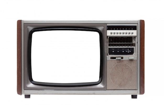Tv d'annata con lo schermo in bianco bianco isolato su bianco.