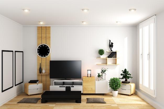 Tv in bianco moderno stanza vuota interni minimal design - stile giapponese. rendering 3d