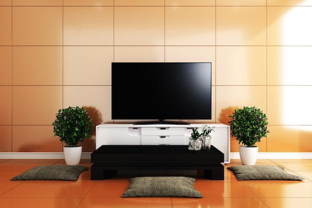 Tv in salotto moderno, piastrelle gialle design colorato. rendering 3d