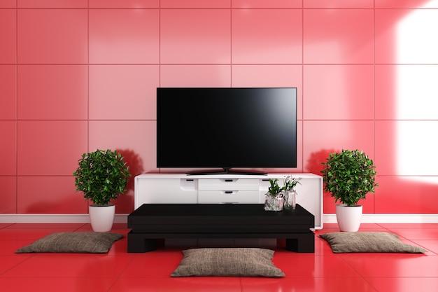 Tv in salotto moderno, piastrelle rosse design colorato. rendering 3d