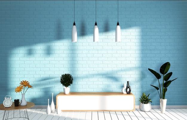 Tv mockup room blu menta parete nel soggiorno giapponese. rendering 3d