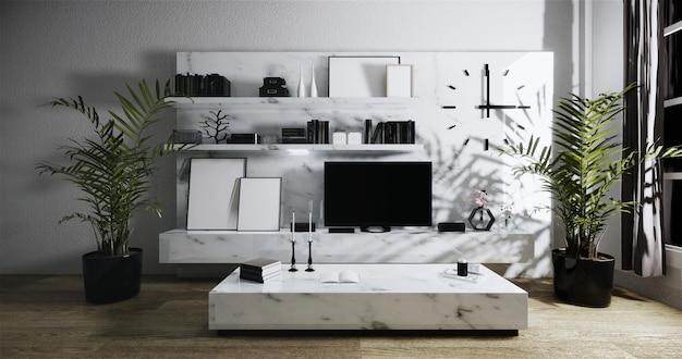 Tv moderna sullo scaffale del granito nell'interno della stanza di zen