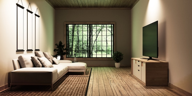 Tv nella moderna sala bianca vuota, progettata per gli amanti dello stile giapponese.
