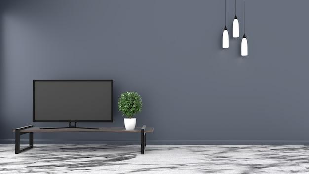 Tv, pavimento in pietra stanza vuota su sfondo scuro muro. rendering 3d