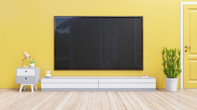Tv sopra sul fondo giallo della parete, rappresentazione 3d