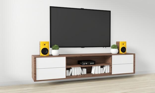 Tv su mobile design in legno nella moderna stanza vuota giapponese - stile zen, design minimale. rendering 3d