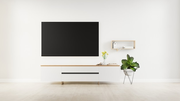 Tv sul gabinetto in salone moderno con la lampada, la tavola, il fiore e la pianta sul fondo della parete del cemento, rappresentazione 3d