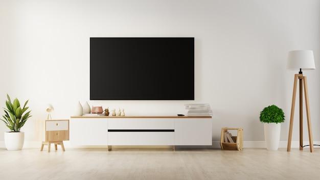 Tv sul gabinetto in salone moderno con la pianta sul fondo bianco della parete, rappresentazione 3d