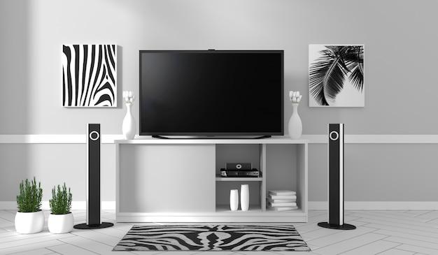 Tv sul gabinetto in salone moderno sul fondo bianco della parete, rappresentazione 3d