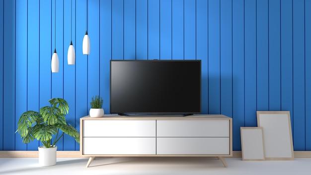 Tv sul gabinetto in salone moderno sul fondo blu della parete, rappresentazione 3d