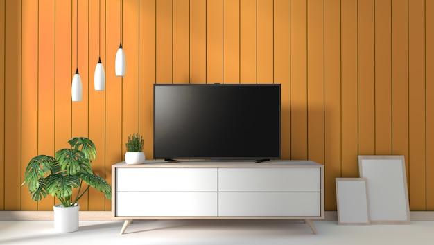 Tv sul gabinetto in salone moderno sul fondo giallo della parete, rappresentazione 3d