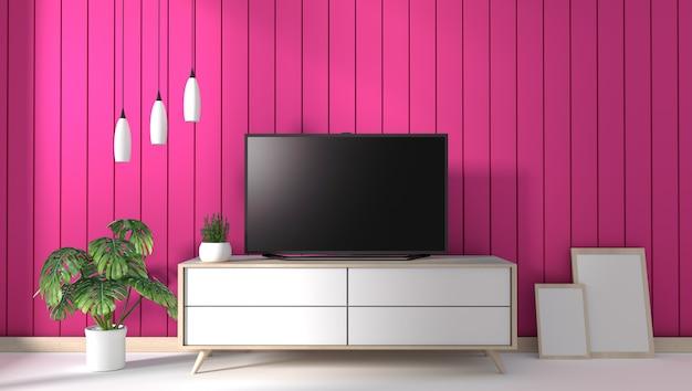 Tv sul gabinetto in salone moderno sul fondo rosa della parete, rappresentazione 3d