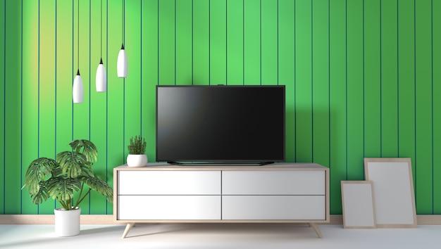 Tv sul gabinetto in salone moderno sul fondo verde della parete, rappresentazione 3d