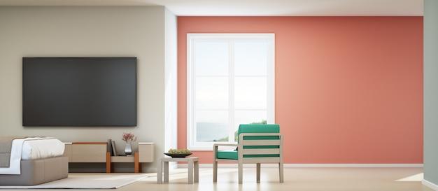 Tv sul muro bianco in casa per le vacanze o villa per le vacanze.