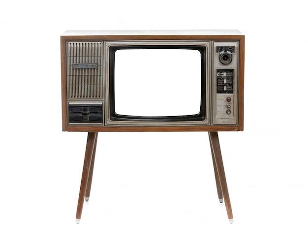 Tv vintage isolato su bianco