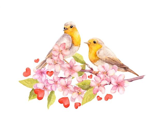 Uccelli sul ramo di fiori con fiori. acquerello