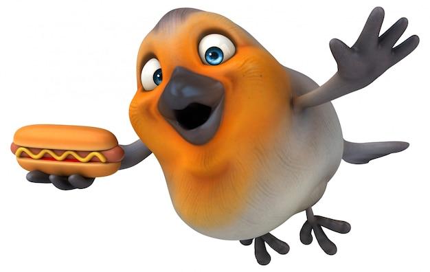 Uccellino divertente 3d che tiene un hot dog