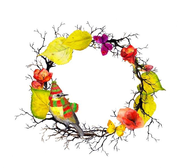Uccello in cappello e sciarpa, rami e ramoscelli con foglie e fiori d'autunnali. ghirlanda floreale stagionale. cornice ad acquerello