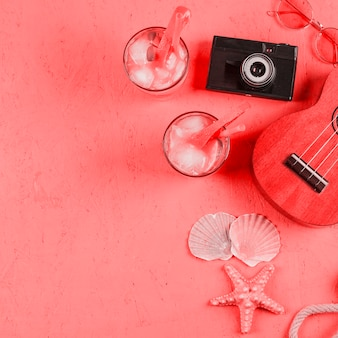 Ukulele; occhiali da sole; conchiglie; macchina fotografica e bicchieri da cocktail sul contesto strutturato di corallo