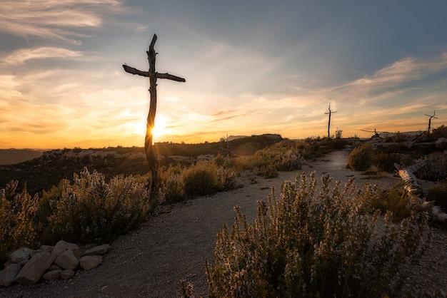 Un bel colpo di alte croci di legno in una terra deserta al tramonto