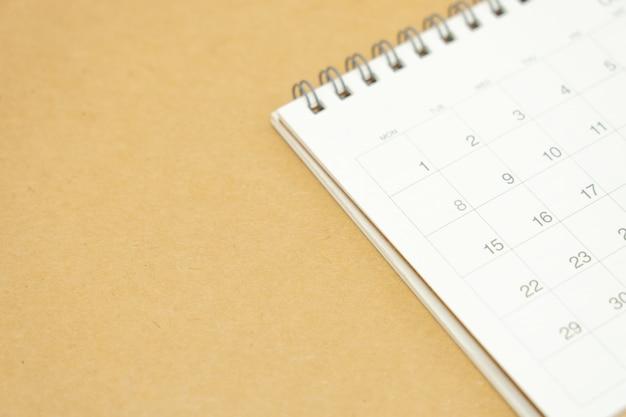 Un calendario del mese concetto di pianificazione