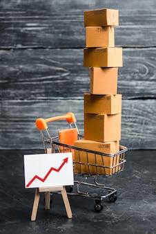 Un carrello del supermercato caricato con un sacco di scatole e una freccia rossa su.
