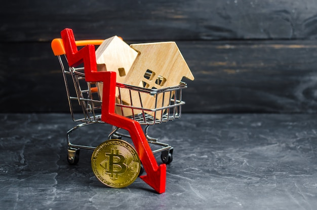 Un carrello del supermercato con case e bitcoin e una freccia rossa verso il basso. valore in calo