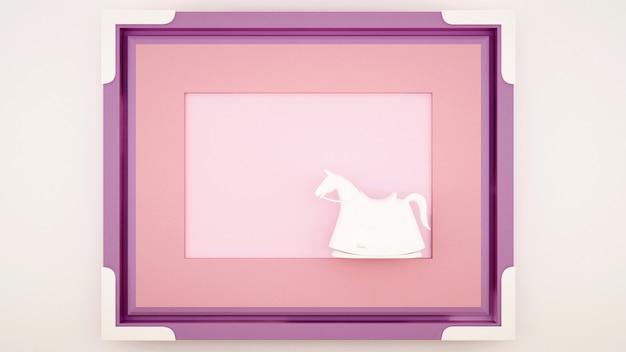Un cavallo a dondolo in una cornice viola rosa